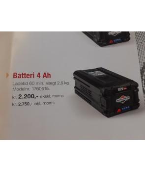 snapper batteri 82v 4 ah vægt 2,6kg  ladetid 60min