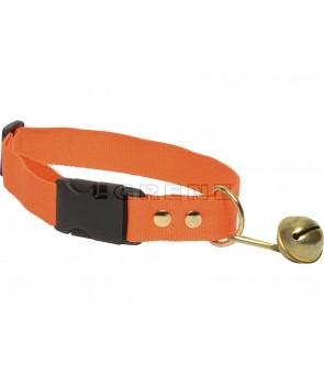 hunde halsbånd orange med klokke