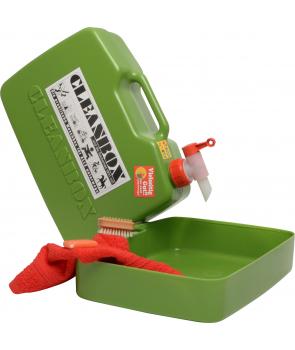 mobil vaskeboks til 8l vand .i låget findes sæbe, håndklæde og neglebørsre